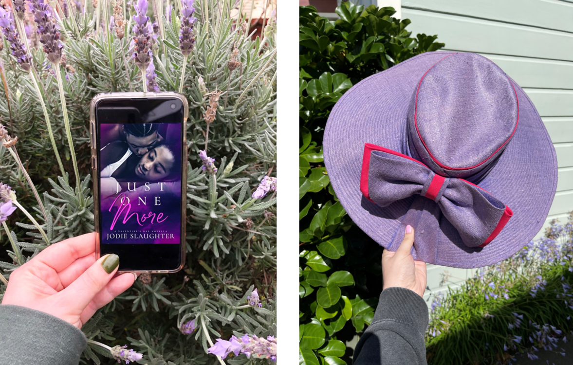 Image: L Alt Text: Holding my phone over a lavender bush. On the phone screen is the cover of Jodie Slaughter's Just One More. R Alt Text: a purple sunhat. Why? Wait.