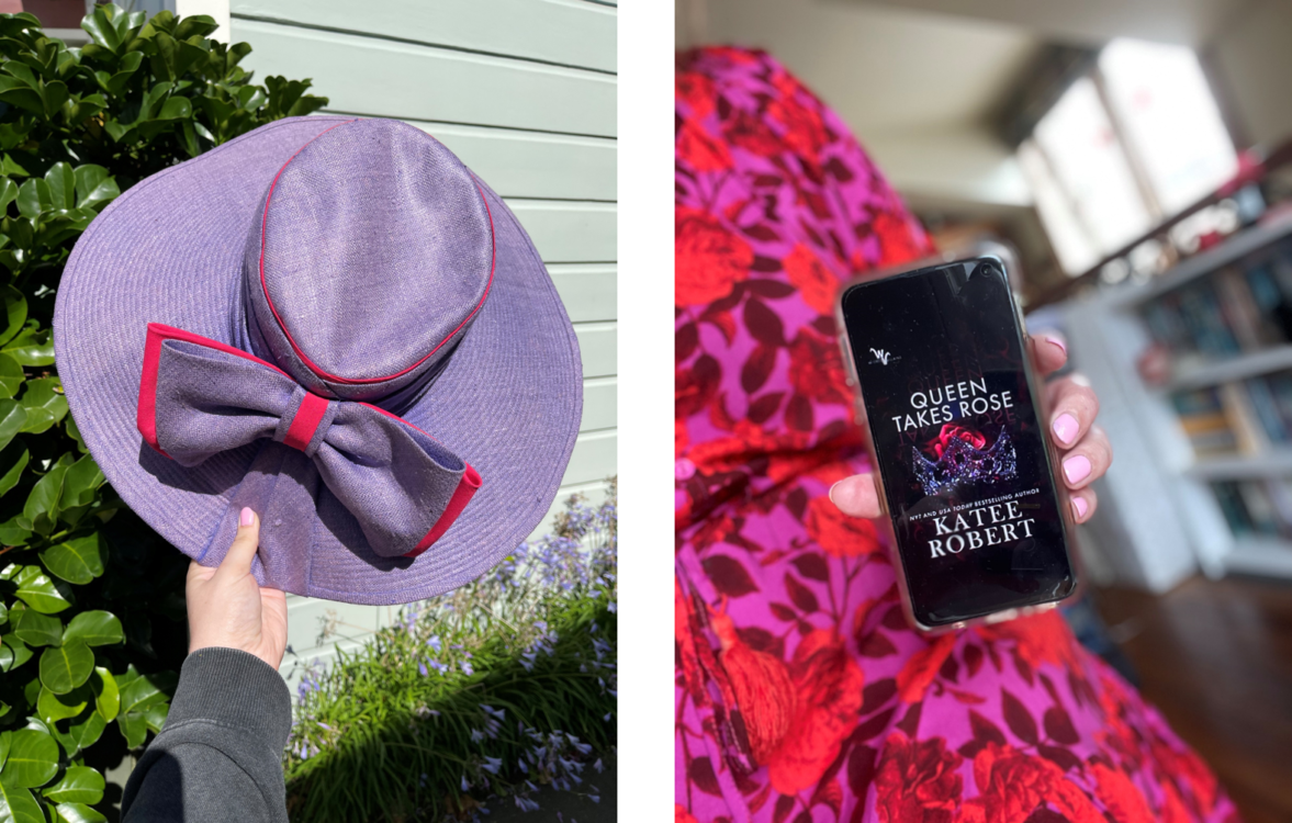 Image: L Alt Text: Holding my purple sunhat AKA my number one bookstagram tool. R Alt Text: I'm wearing a pink and purple floral dress and holding my phone over my lap. On the phone screen is the cover of Katee Robert's Queen Takes Rose. The edges of my phone are blurred because portrait mode had A Moment about the clear phone case.